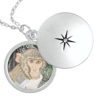 Rhesus Macaque Round Locket Necklace
