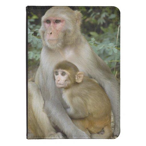 Rhesus Macaques Macaca mulatta) mother & baby Kindle Case