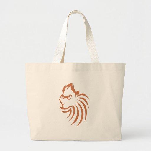 Rhesus Monkey in Swish Drawing Style Canvas Bags