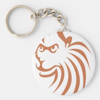 Rhesus Monkey in Swish Drawing Style Basic Round Button Key Ring