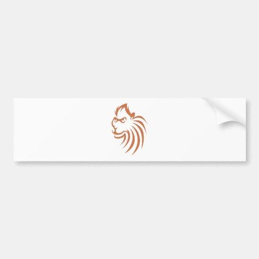 Rhesus Monkey in Swish Drawing Style Bumper Sticker