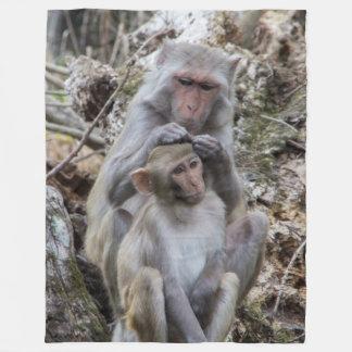 Rhesus Monkeys Fleece Blanket