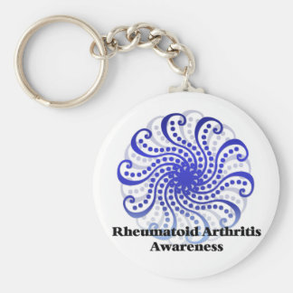 Rheumatoid Arthritis Awareness Blue Design 6 Keychain