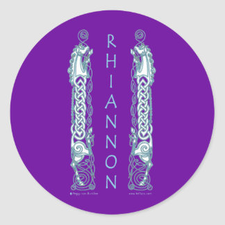 Rhiannon Celtic Horse Sticker, Purple Round Sticker