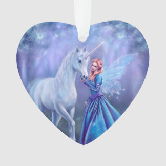 Rhiannon Unicorn and Fairy Acrylic Heart Ornament