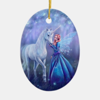 Rhiannon - Unicorn and Fairy Ceramic Ornament