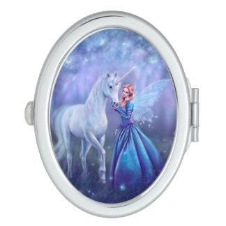 Rhiannon - Unicorn and Fairy Oval Compact Mirror