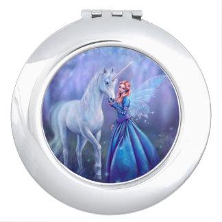 Rhiannon - Unicorn and Fairy Round Compact Mirror