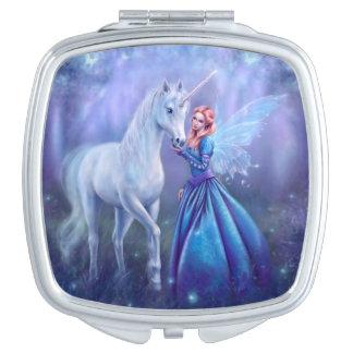 Rhiannon - Unicorn and Fairy Square Compact Mirror
