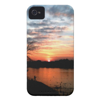 Rhine river Germany Sunset and bird feeding. Case-Mate iPhone 4 Cases