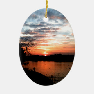 Rhine river Germany Sunset and bird feeding. Christmas Ornament