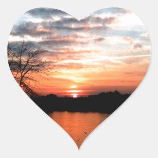 Rhine river Germany Sunset and bird feeding. Heart Sticker