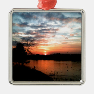 Rhine river Germany Sunset and bird feeding. Silver-Colored Square Decoration
