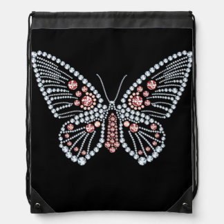 Rhinestone Butterfly Design Drawstring Backpack