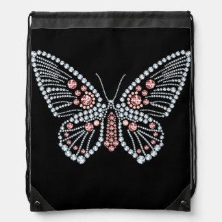 Rhinestone Butterfly Design Drawstring Backpack