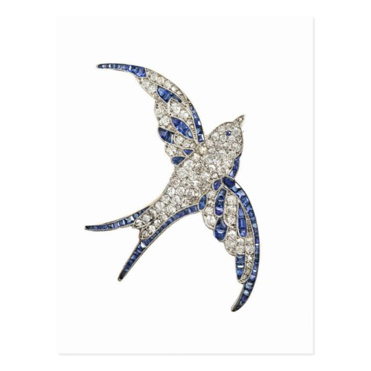 Rhinestone Diamonds Bird Vintage Costume Jewellery Postcard