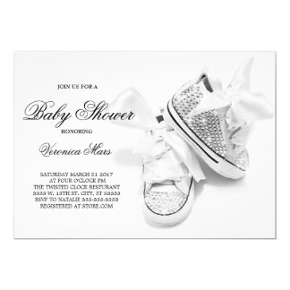 Rhinestone glitter shoes baby shower invitation, card