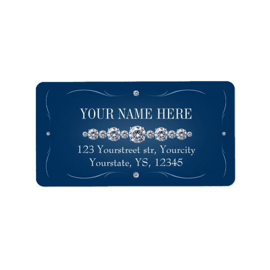 Rhinestone navy blue address labels