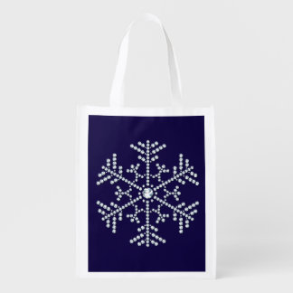 Rhinestone Snowflake Reuse Tote Bag Diamond Design