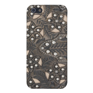 Rhinestone Studded tooled Leather Cover For iPhone 5/5S