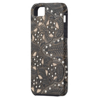 Rhinestone Studded tooled Leather iPhone 5 Cover