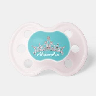 Rhinestone Tiara Graphic Baby Pacifier (aqua)