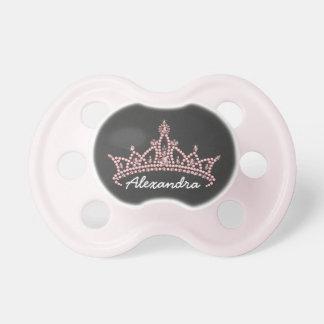 Rhinestone Tiara Graphic Baby Pacifier (black)
