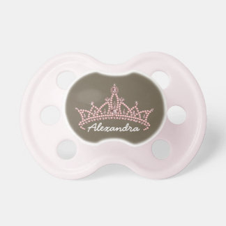 Rhinestone Tiara Graphic Baby Pacifier (chocolate)