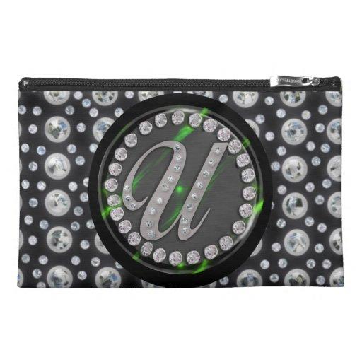 """rhinestone """"u"""" travel accessory bag"""