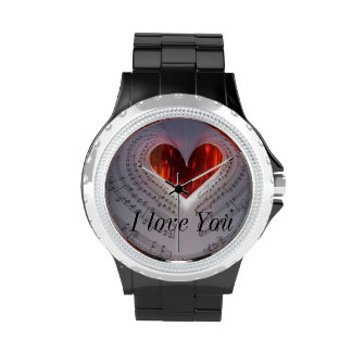 Rhinestone Watch with accented Music Notes & Heart