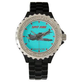 Rhinestone with Black Enamel spit fire watch