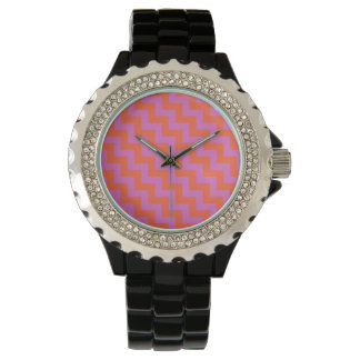 Rhinestone Wrist-watch: Magenta, Orange Chevrons Watch