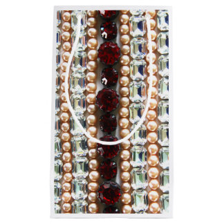 Rhinestones and pearls - vintage jewelry small gift bag