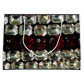 Rhinestones - red and white large gift bag