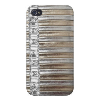 Rhinestones Silver & Gold Faux Leather IPHONE CASE iPhone 4 Cover