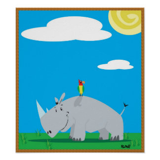 Rhino and Bird Print