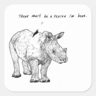 "Rhino and Bird Stickers (Pack of 6, 3"" x 3"")"