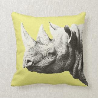 Rhino Animal Safari Yellow Pillow