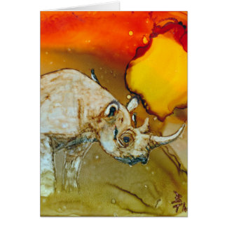 Rhino At Sunset Card