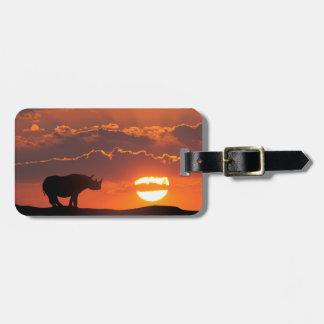 Rhino at sunset, Masai Mara, Kenya Luggage Tag