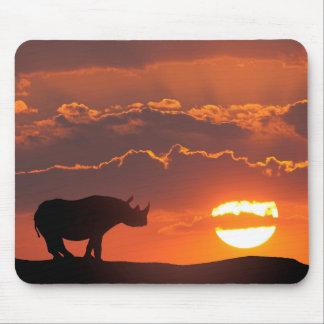 Rhino at sunset, Masai Mara, Kenya Mouse Mat