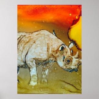 Rhino At Sunset Poster