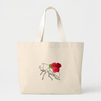 Rhino Beetle with Roses Jumbo Tote Bag