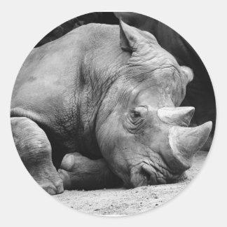 Rhino Black and White Classic Round Sticker
