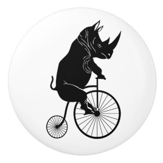 Rhino Black Silhouette Riding Vintage Bike Ceramic Knob