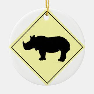 Rhino Crossing Sign Christmas Ornament