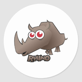 Rhino Cute Classic Round Sticker