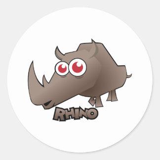 Rhino Cute Round Sticker