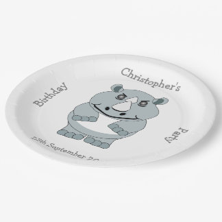 Rhino Design Birthday Party Paper Plate
