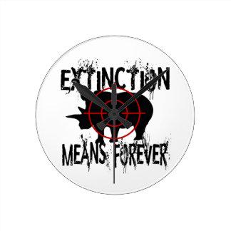 Rhino Extinction1 Round Clock